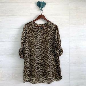 Clara Sun Woo Leopard Button Down Semisheer Top
